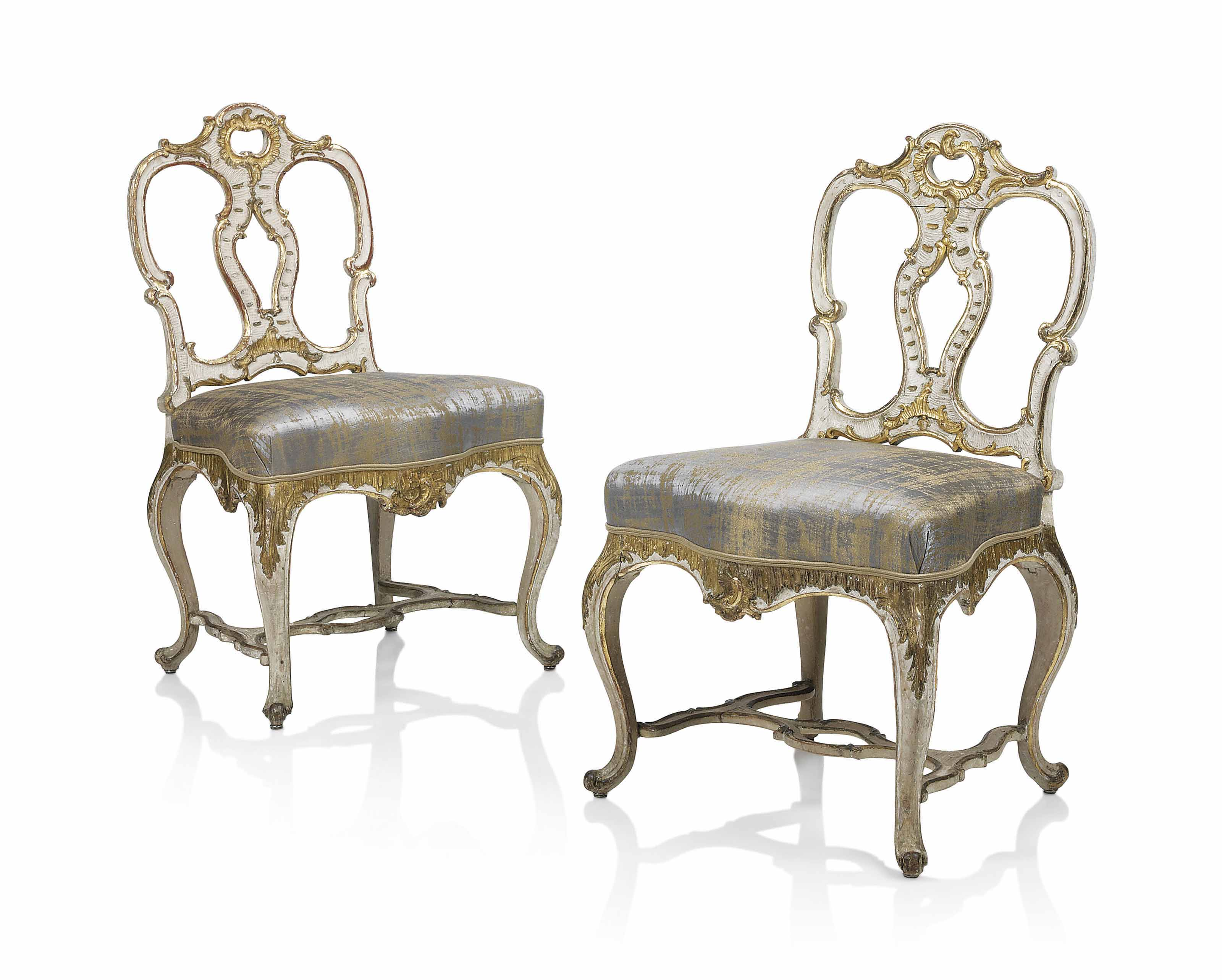 A Pair Of South German Rococo Cream Painted And Parcel Gilt