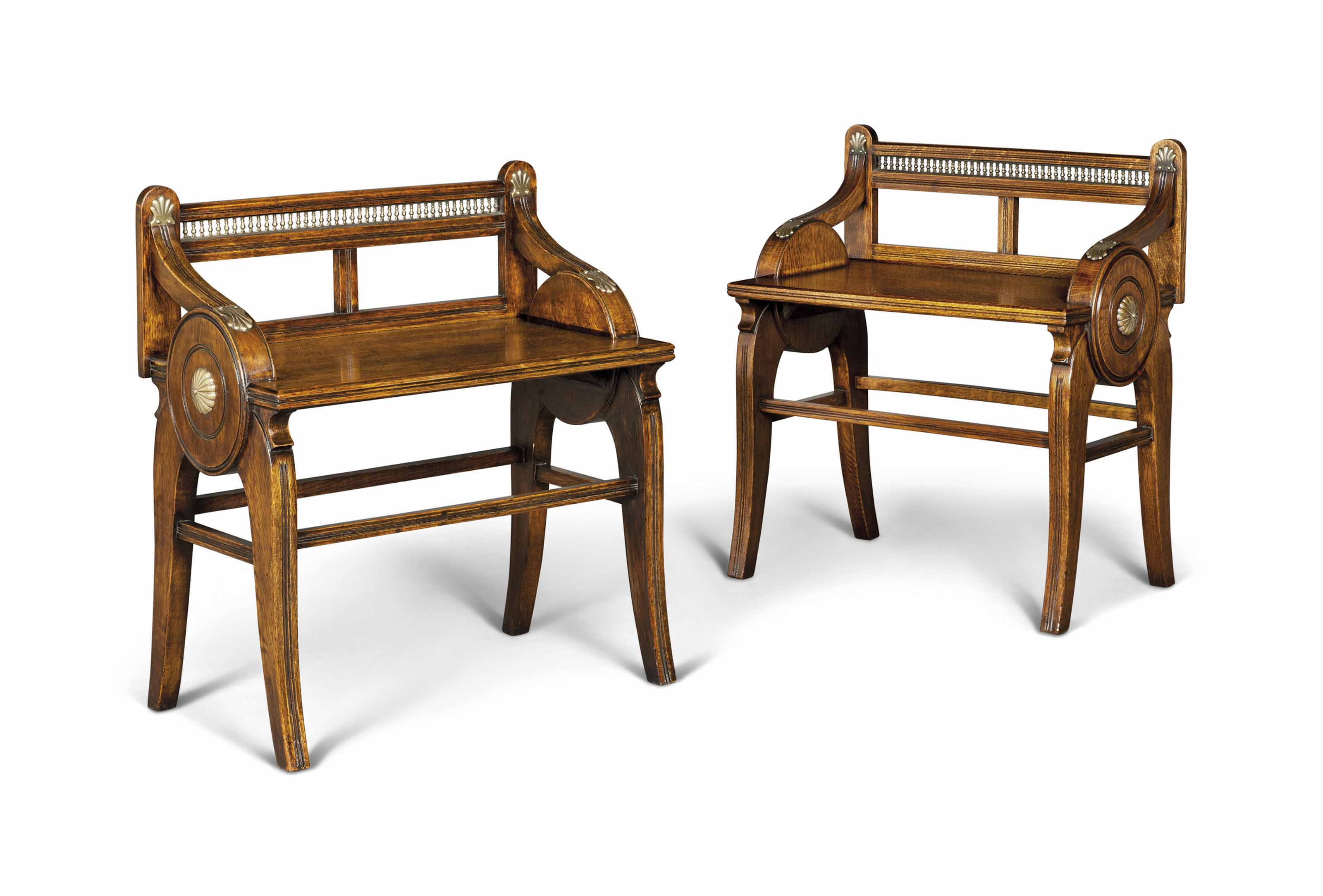 A PAIR OF VICTORIAN BRASS-MOUNTED OAK HALL BENCHES