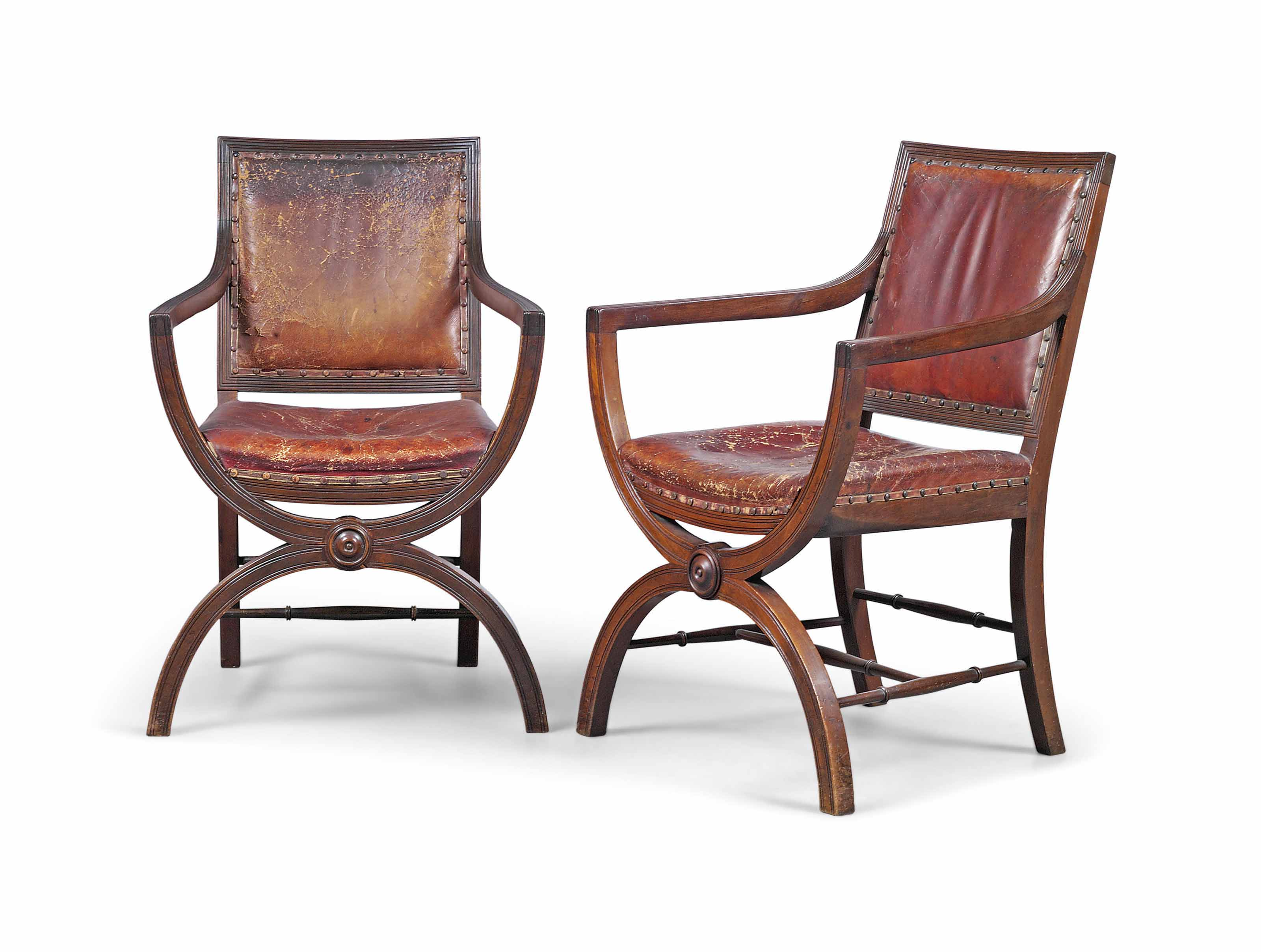 A PAIR OF VICTORIAN MAHOGANY 'CURULE' ARMCHAIRS