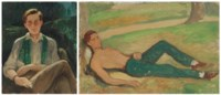 Two portraits of Robert Heber-Percy; with green scarf; and reclining by a tree