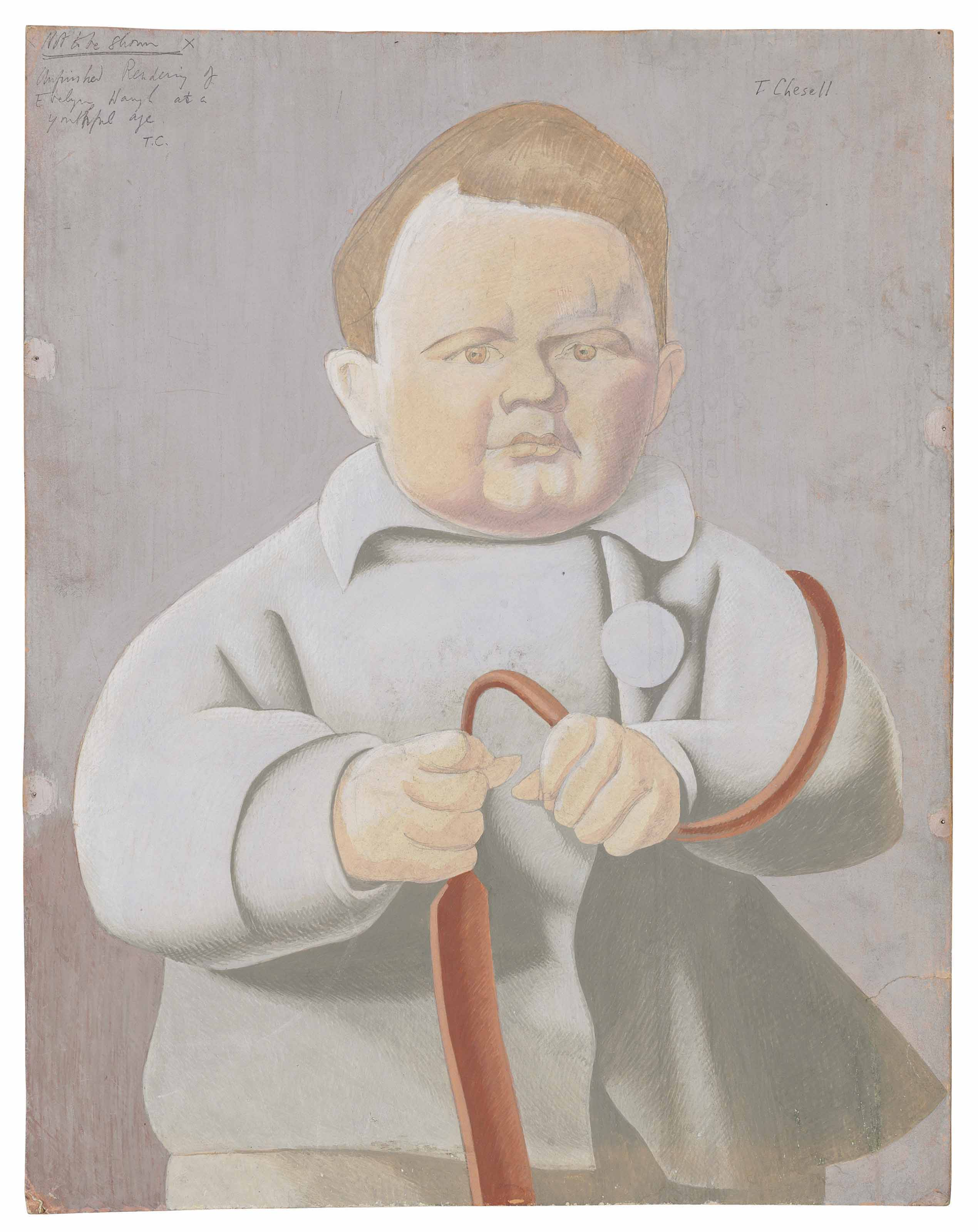 Portrait of Evelyn Waugh as a child, wearing a pale blue coat