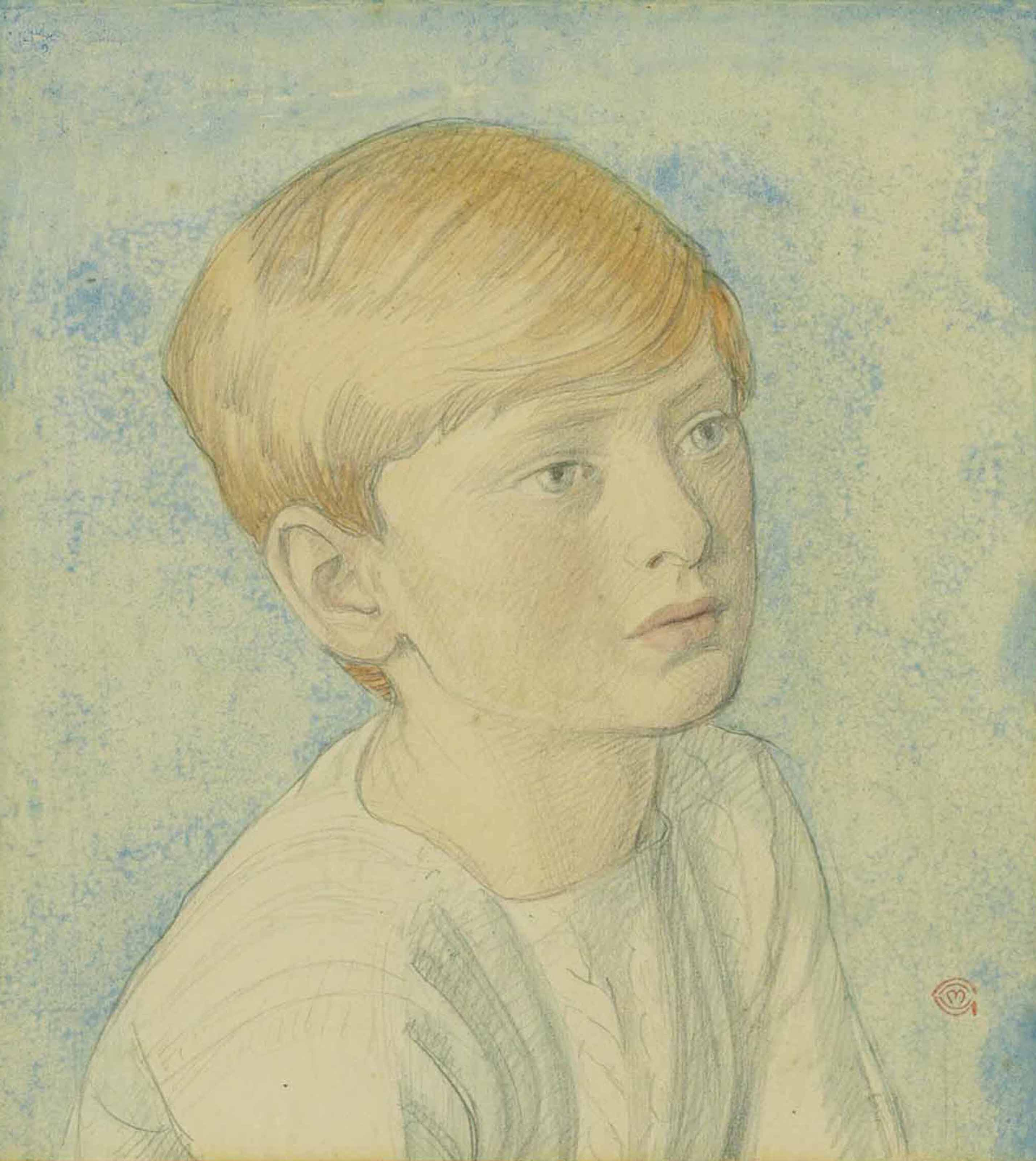 Portrait of a boy, half-length with ginger hair