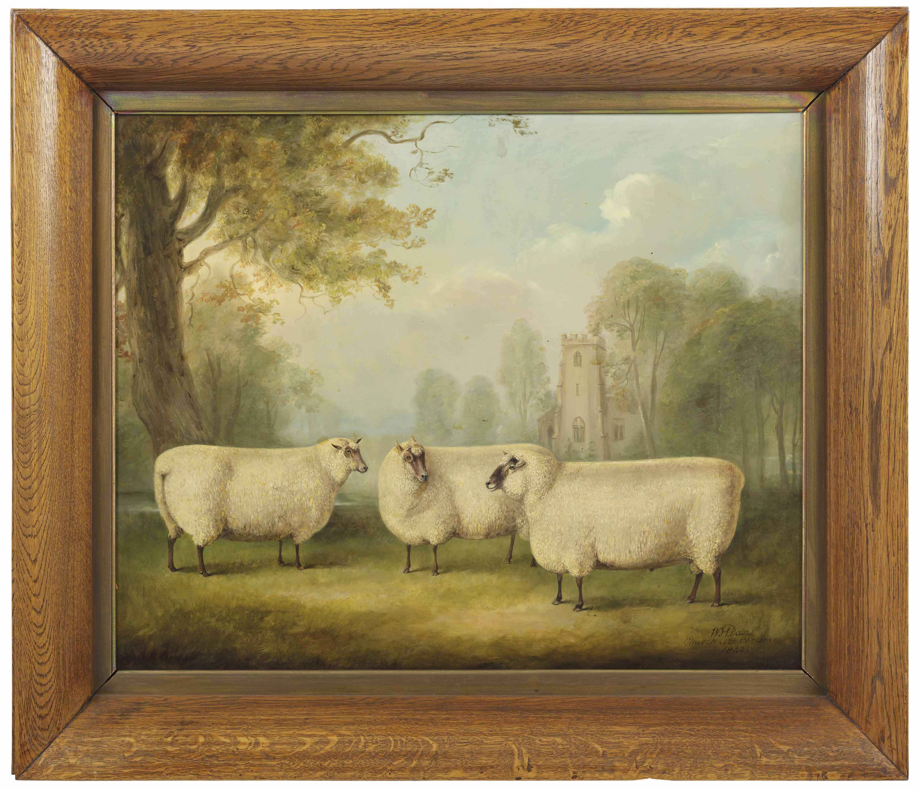 Sheep in a landscape with a church beyond
