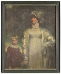 Portrait of a lady and her son, the former three-quarter length, in a white dress