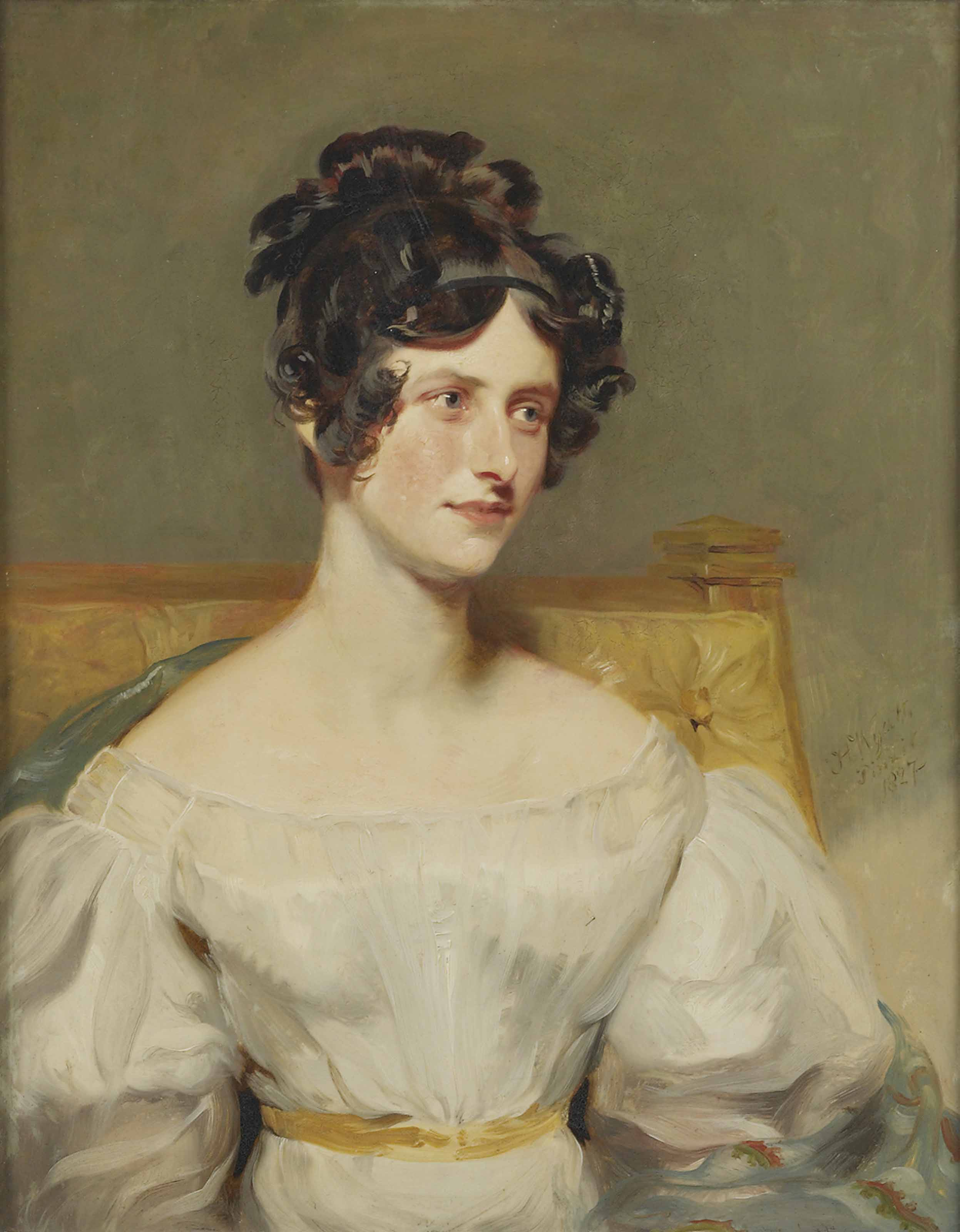 Portrait of Mrs. Henry William Wilson, seated half-length, in a white dress