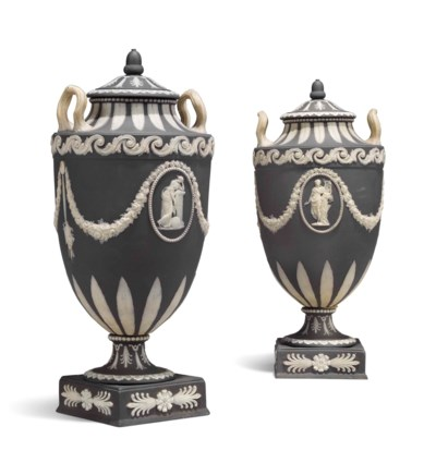 A Pair Of Wedgwood Black Jasperware Two Handled Vases And Covers