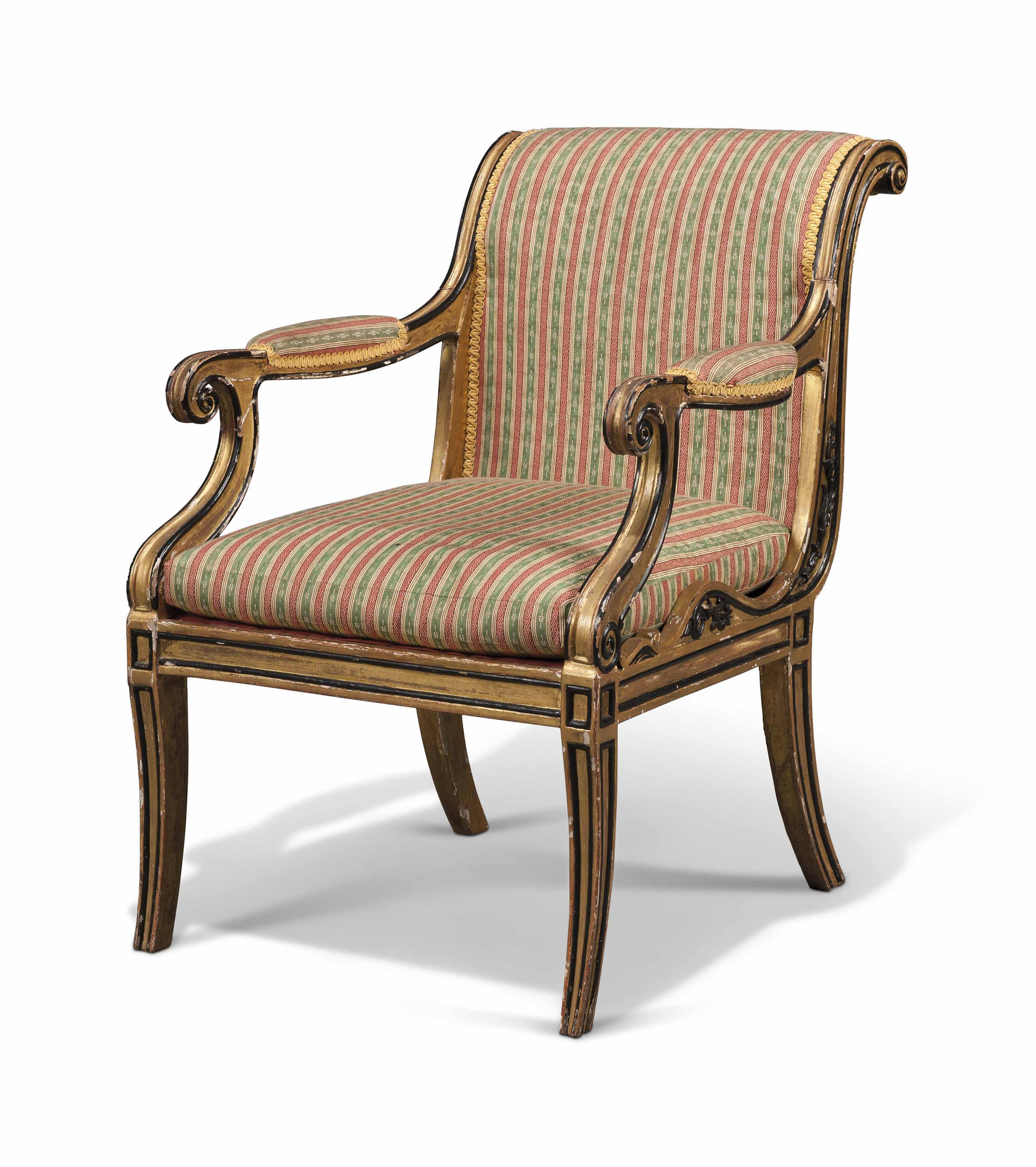 A REGENCY GILT AND EBONISED ARMCHAIR