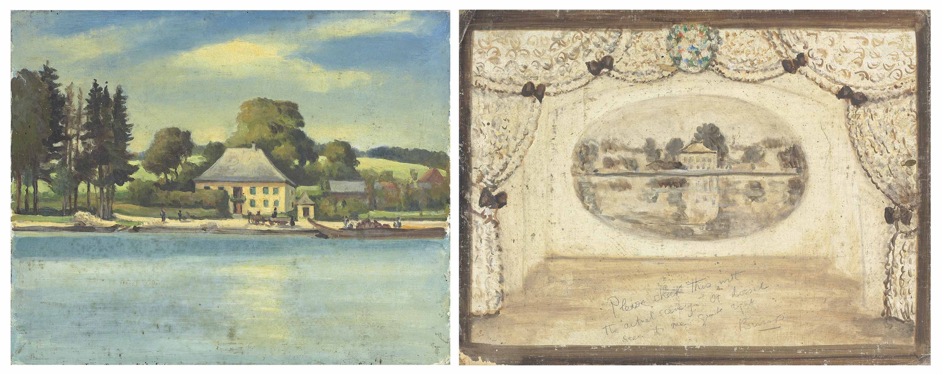 A river scene in the Auvergne used as a backdrop in 'A Wedding Bouquet'; and a design for the backdrop of 'A Wedding Bouquet'