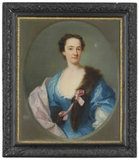 Portrait of a lady, half-length, in a blue dress, pink wrap and fur stole, in a feigned oval