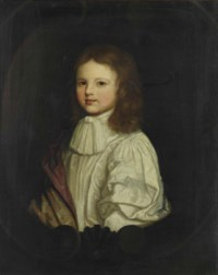 Portrait of a boy, half-length, in a white shirt and stock, in a feigned oval