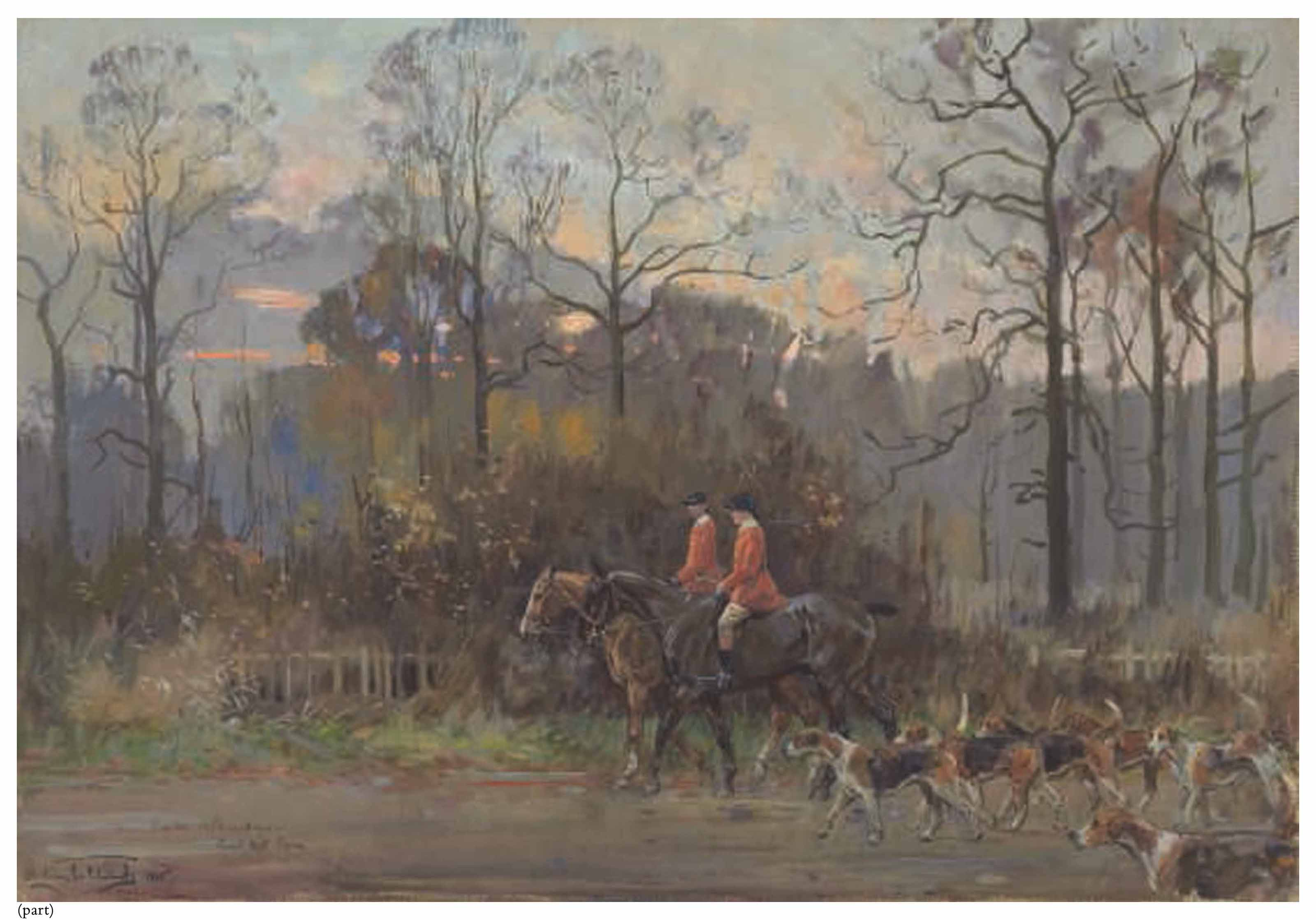 Nimrod Capell, huntsman to the South Atherstone, leaving the meet at Newnham Paddox, Monks Kirby, Warwickshire, 1933; and Heading for home: the South Atherstone on Coat Pit Lane, Wolvey, Warwickshire