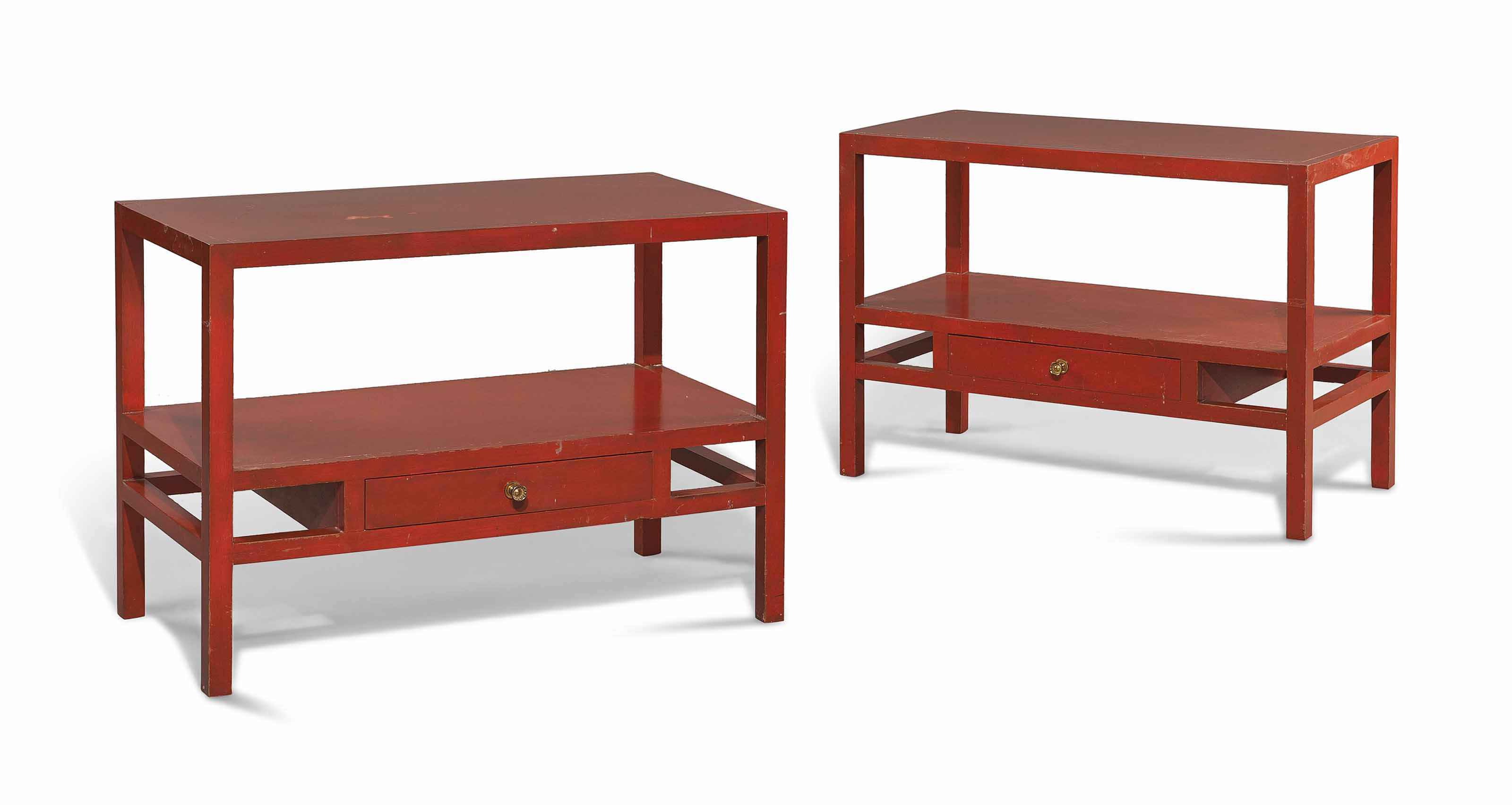 A PAIR OF RED-PAINTED LOW SIDE TABLES