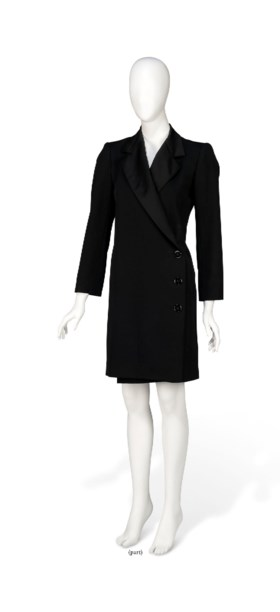 A BLACK WOOL SMOKING COAT AND A DOUBLE BREASTED NAVY WOOL CO