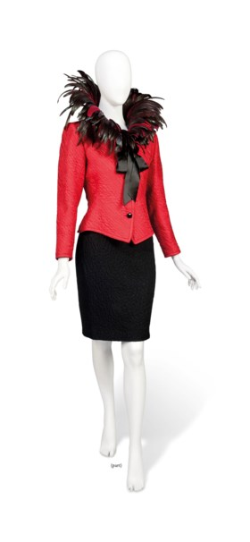 A SCARLET SILK MATELASSE JACKET, WITH IRRIDESCENT FEATHER CO