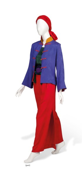 AN EVENING TROUSER SUIT, TURBAN AND CLOAK
