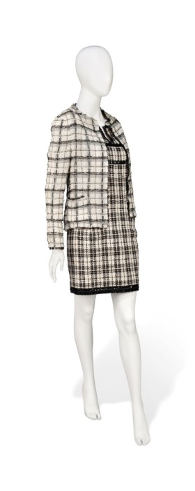 A BLACK AND WHITE TWEED DRESS AND ASSOCIATED JACKET