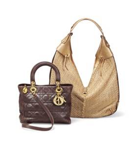 A LADY DIOR BAG AND A GILT-LEATHER SLOUCH BAG