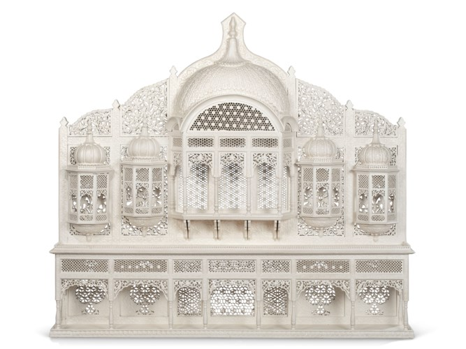 An Indian white-painted archit