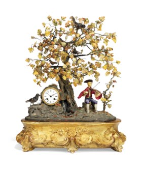 A FRENCH GILTWOOD AND COMPOSITION MUSICAL FIGURAL AND SINGING BIRD AUTOMATON CLO