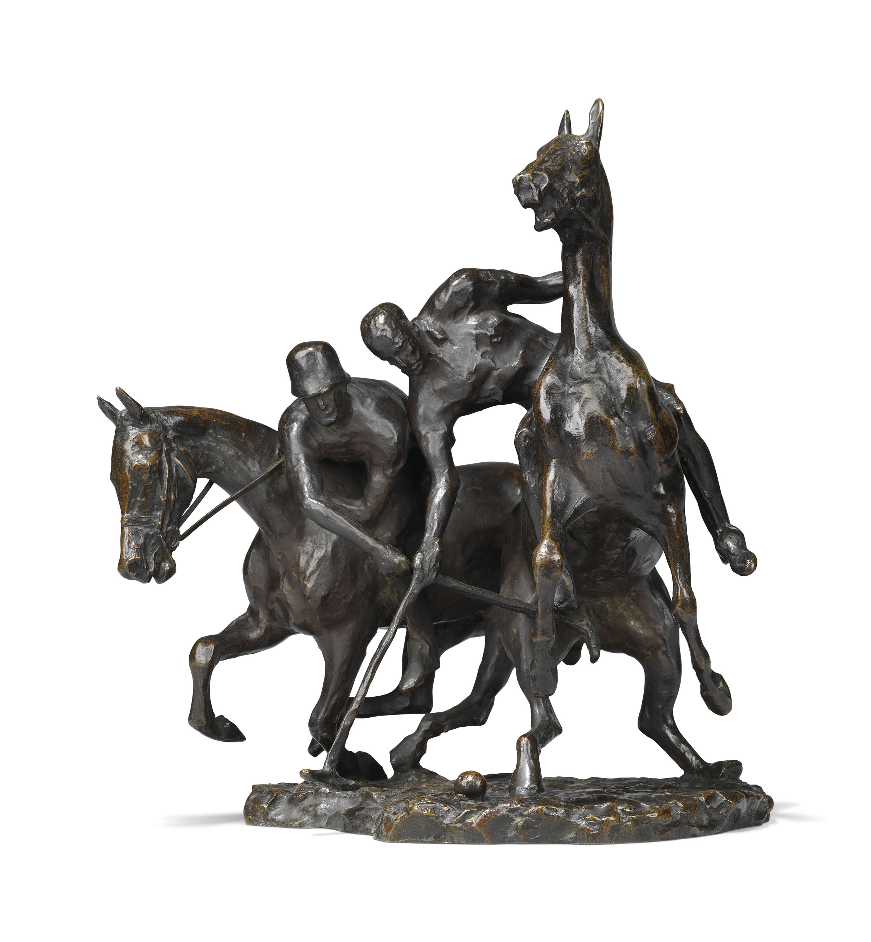 A GERMAN BRONZE GROUP OF POLO PLAYERS TITLED 'POLOSPIELERS'