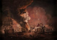 The Battle of the Nile, 1798; the destruction of The Orient after Thomas Luny