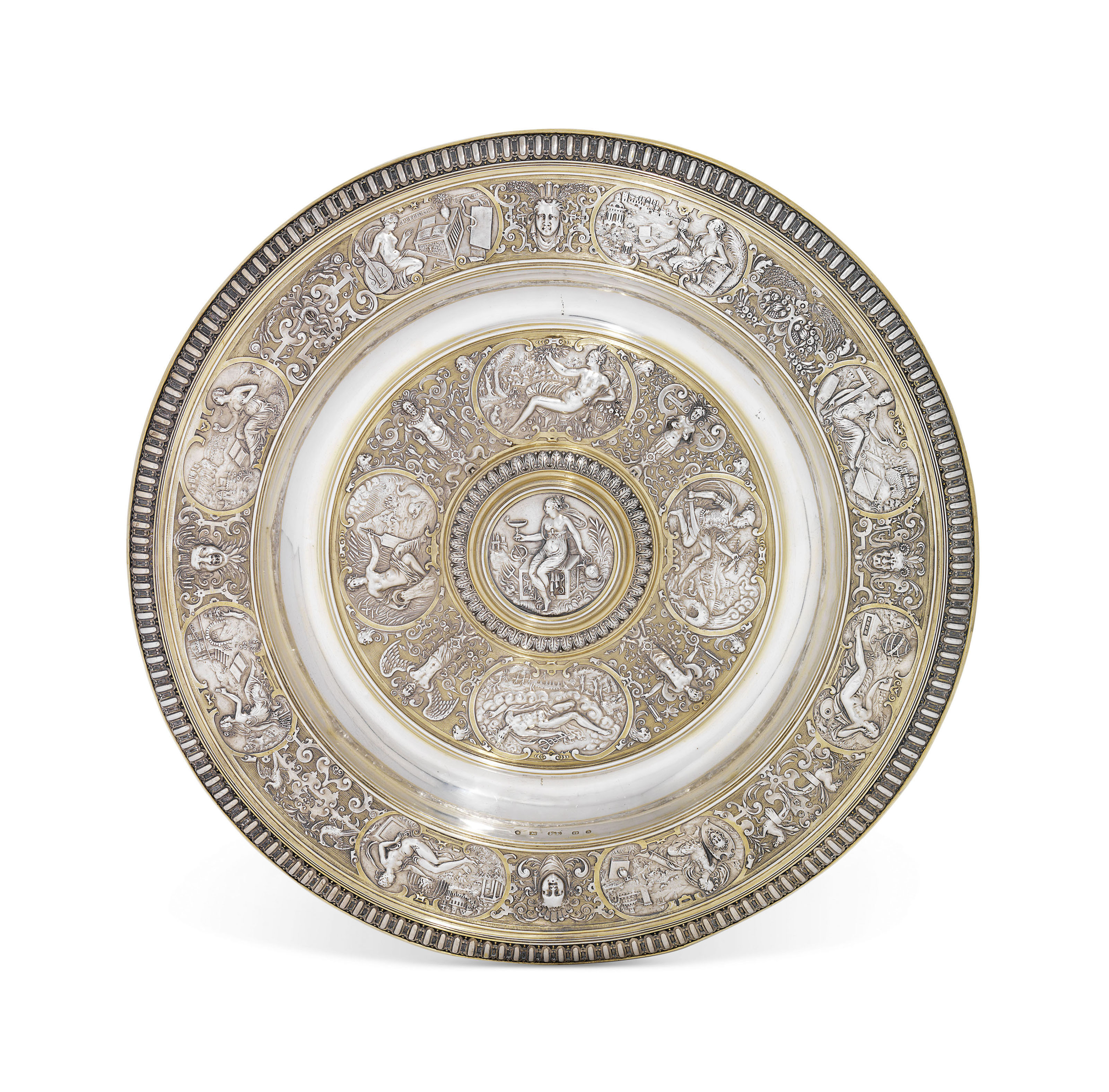 A VICTORIAN PARCEL-GILT SILVER DISH AFTER THE TEMPERANTIA BASIN
