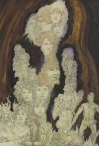 An ascending plume of faces, figures and atavistic forms