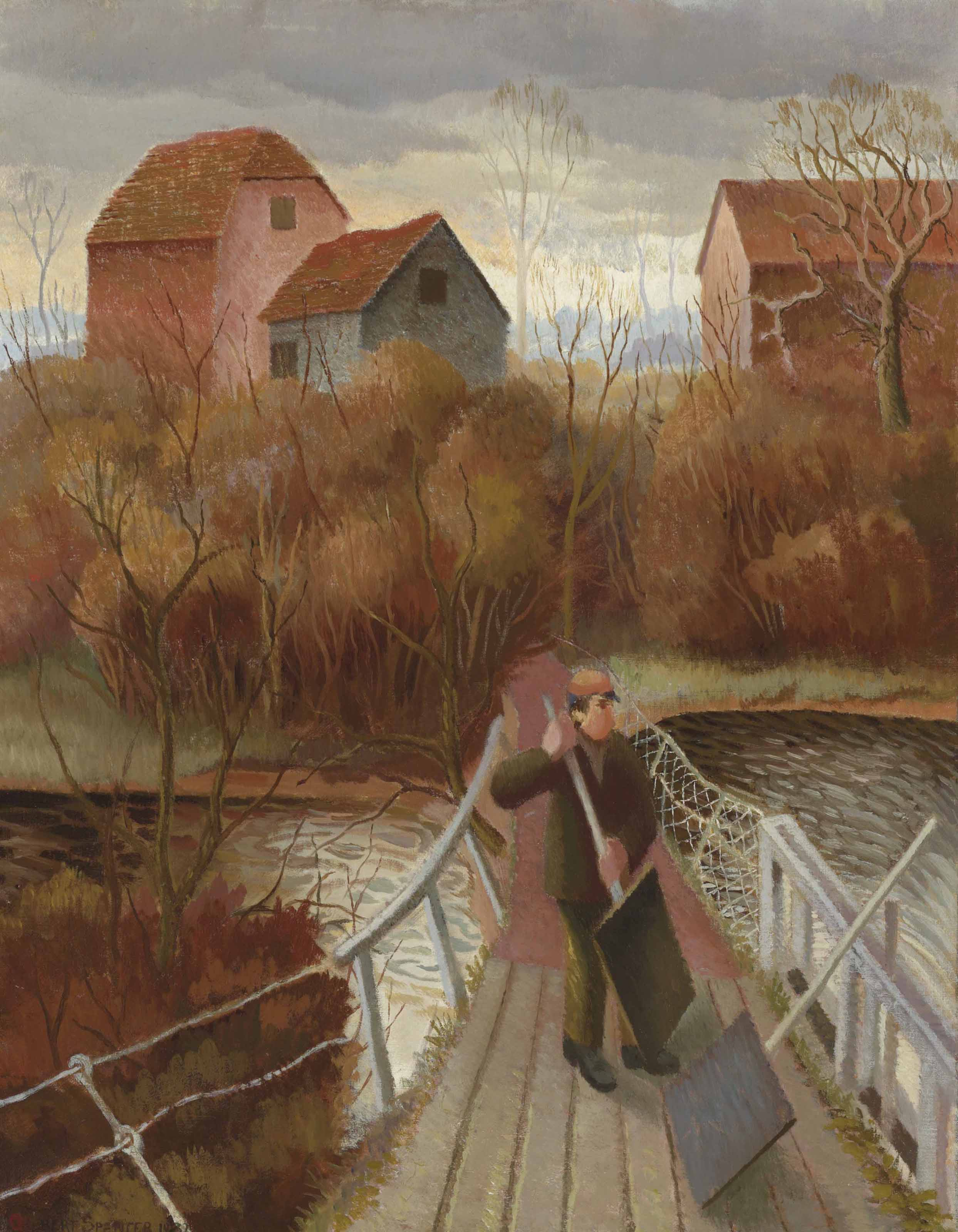 Man at a sluice gate on the Thames