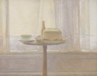 Still life of objects on a pedestal table