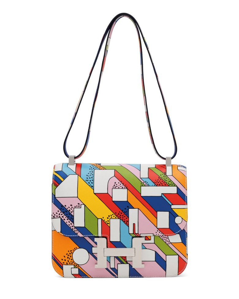 A limited edition multicolor swift leather on a summer day Constance 24 with palladium hardware by Nigel Peake, Hermès, 2017. 23 w x 18 h x 7 d cm. Sold for £30,000 on 12 June 2018 at Christie's in London