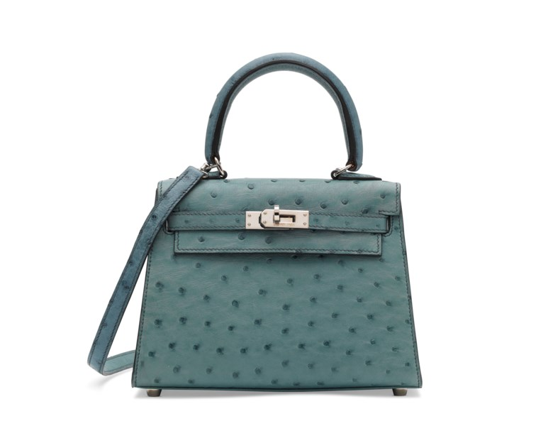 A Bleu Jean ostrich sellier Mini Kelly 20 with palladium hardware, Hermès, 2005. 20 w x 14 h x 18 d cm. Sold for £15,000 on 12 June 2018 at Christie's in London