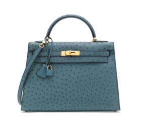A BLEU JEAN OSTRICH SELLIER KELLY 32 WITH GOLD HARDWARE