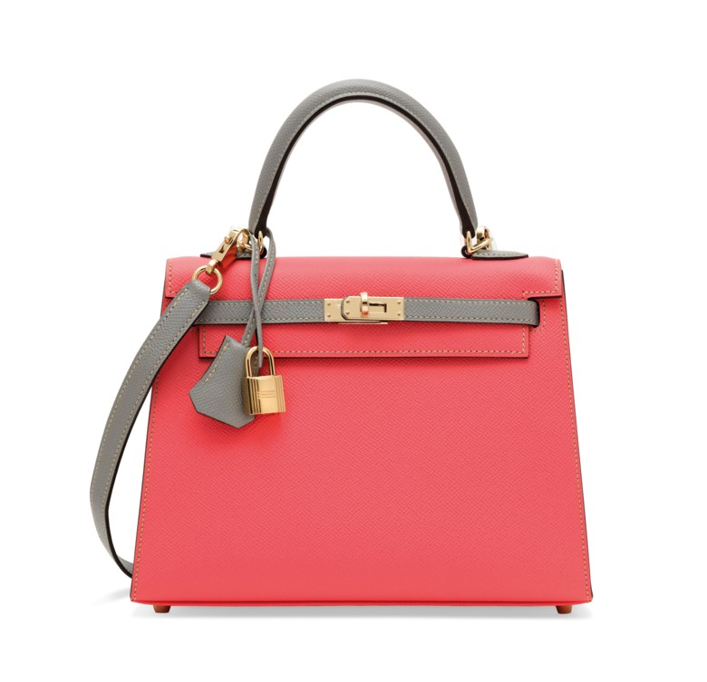 A custom rose azalée & gris mouette epsom leather sellier Kelly 25 with permabrass hardware, Hermès, 2017. 25 w x 18 h x 9 d cm. Sold for £21,250 on 12 June 2018 at Christie's in London