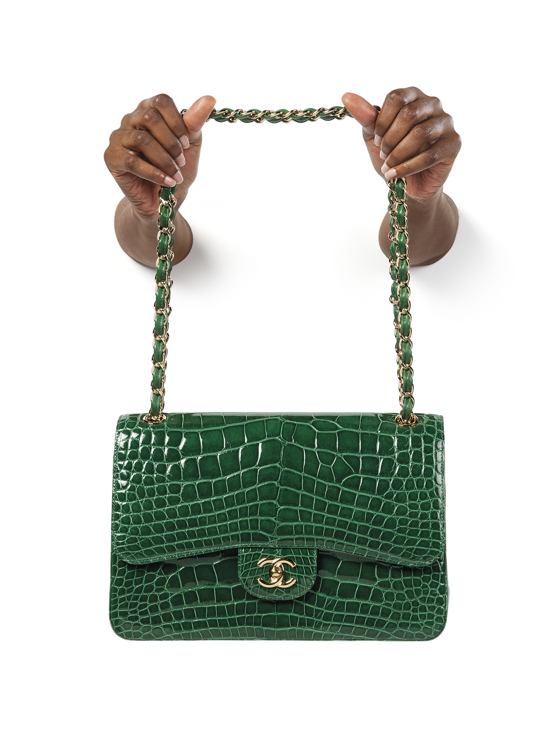 4e24f704cad819 A SHINY EMERALD GREEN ALLIGATOR JUMBO DOUBLE FLAP WITH GOLD HARDWARE. CHANEL  ...