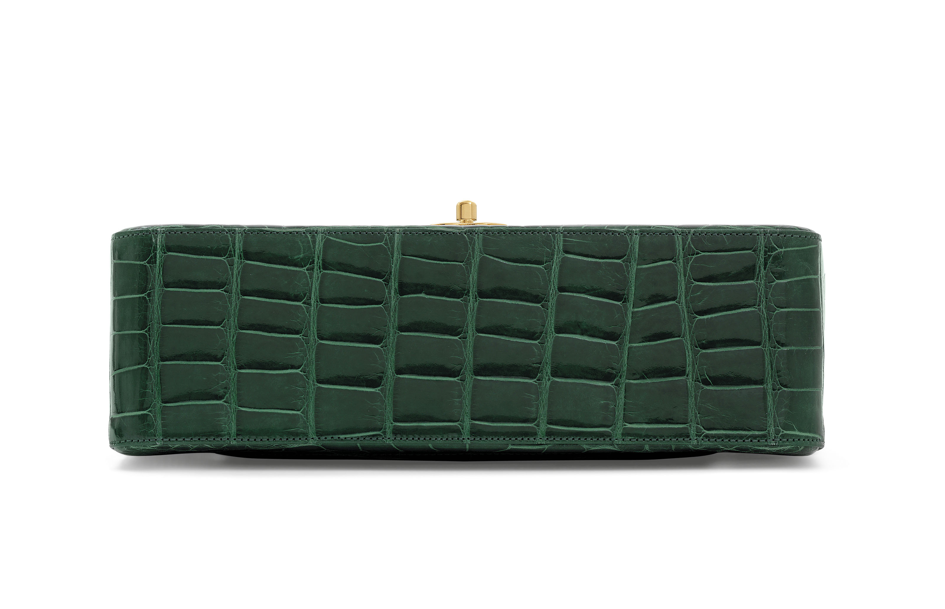 361c3c6b9af448 A SHINY EMERALD GREEN ALLIGATOR JUMBO DOUBLE FLAP WITH GOLD HARDWARE ...