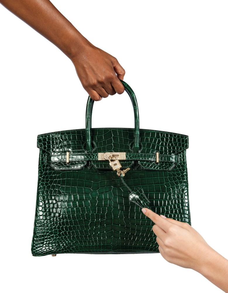 An exceptional, shiny vert foncé porosus crocodile diamond Birkin 35 with 18k yellow gold & diamond hardware, Hermès, 2010. 35 w x 25 h x 18 d cm. Sold for £68,750 on 12 June 2018 at Christie's in London