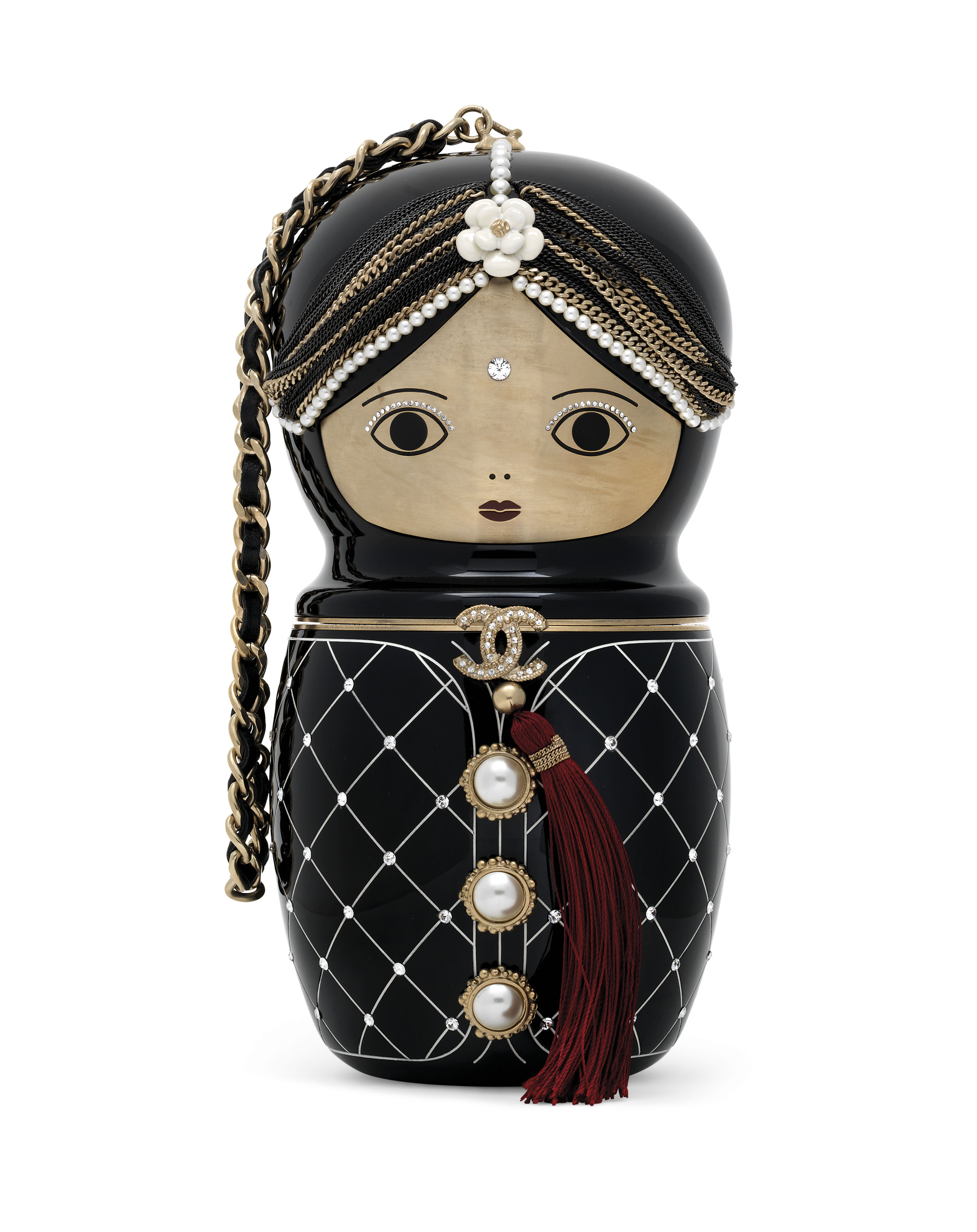 A MÉTIERS D'ART PARIS-BOMBAY RUNWAY BLACK LUCITE MATRYOSHKA EVENING BAG WITH GOLD HARDWARE