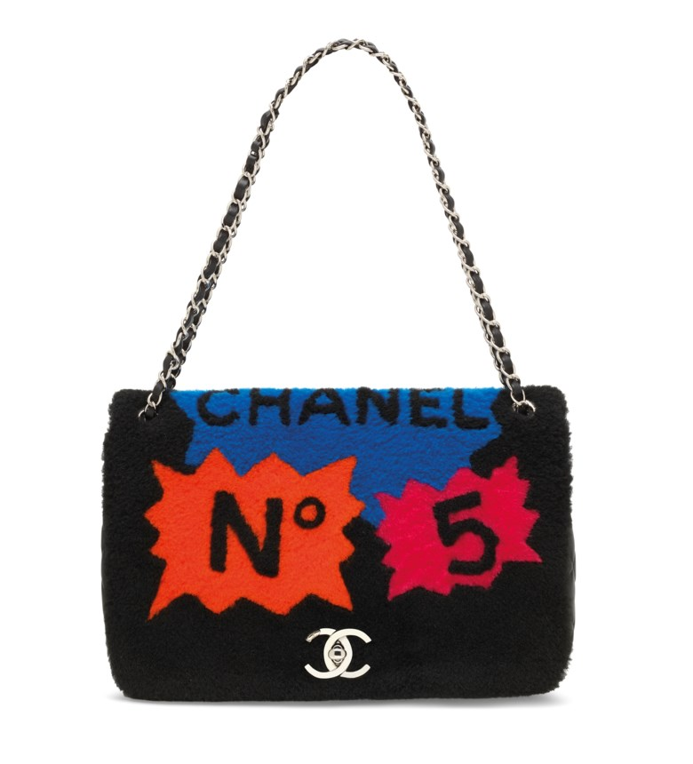A supermarket runway shearling & black lambskin leather patchwork jumbo flap bag with silver hardware, Chanel, fall 2014. 32w x 21h x9 d cm. Estimate £2,000-3,000. Offered in Handbags & Accessories on 12 June at Christie's in London