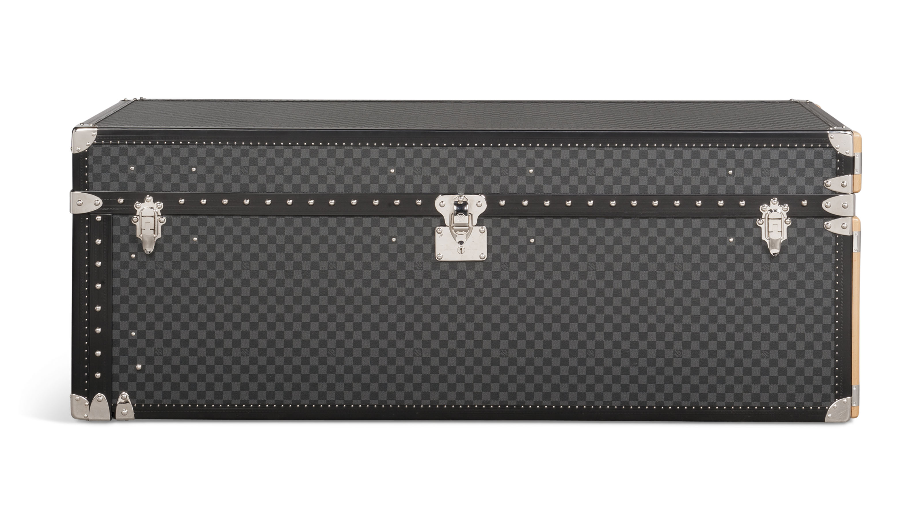 A custom graphite damier canvas watch & jewellery trunk, Louis vuitton, 2016. 150w x 54h x 56d cm. Estimate £30,000-40,000. Offered in Handbags & Accessories on 12 June at