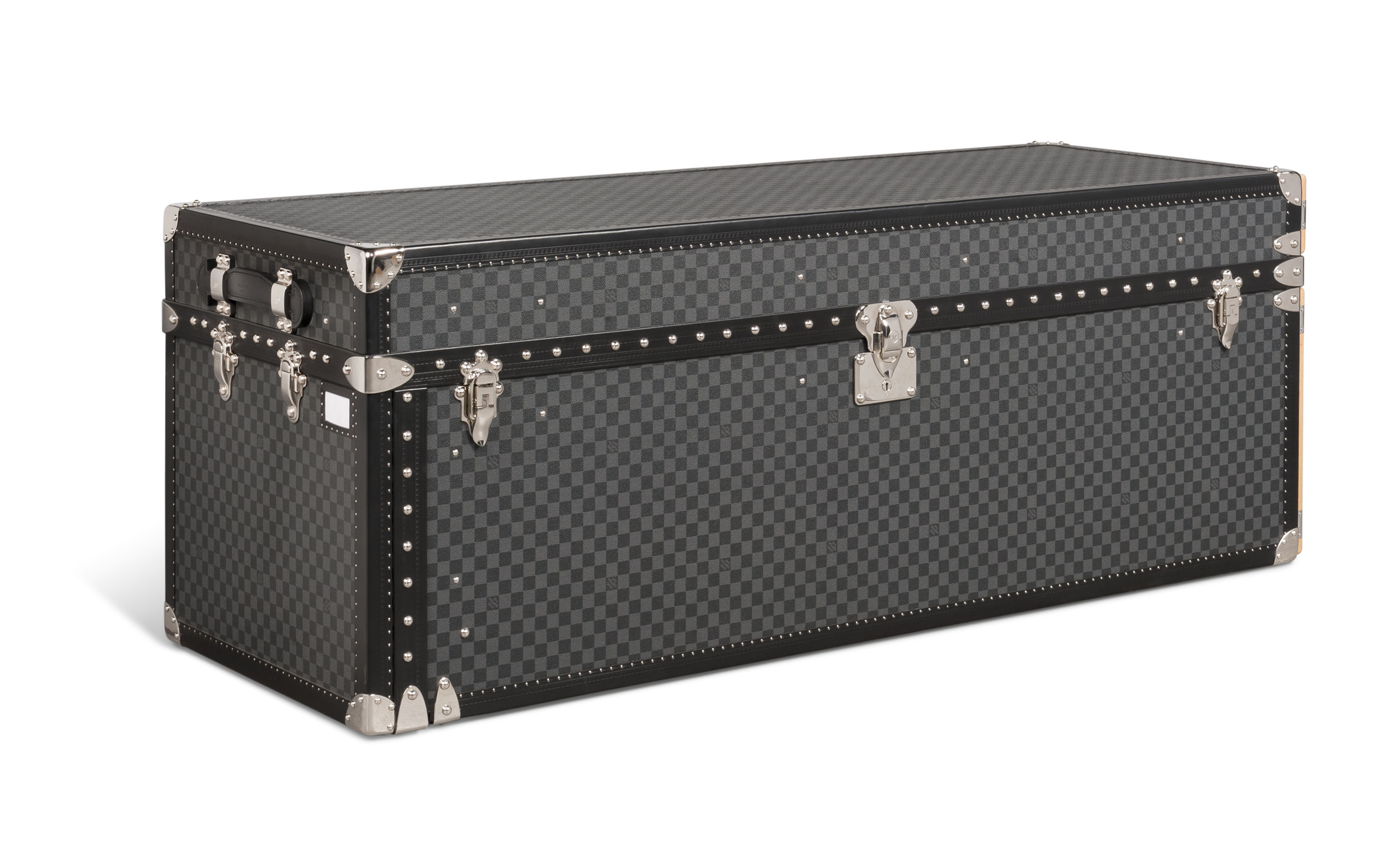 A CUSTOM GRAPHITE DAMIER CANVAS WATCH & JEWELLERY TRUNK