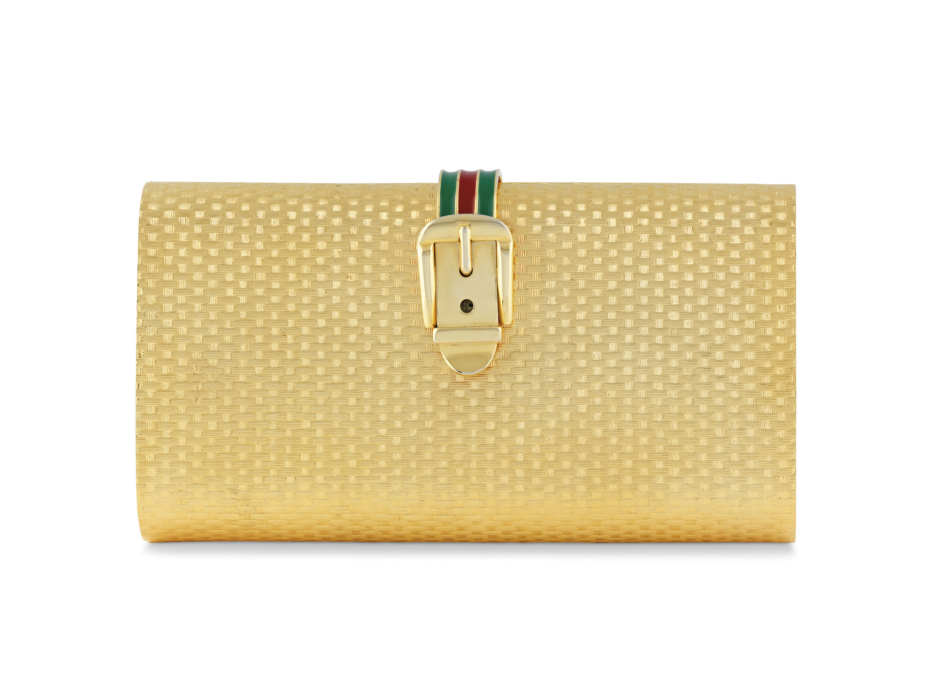 A GOLD METAL CLUTCH WITH ENAME