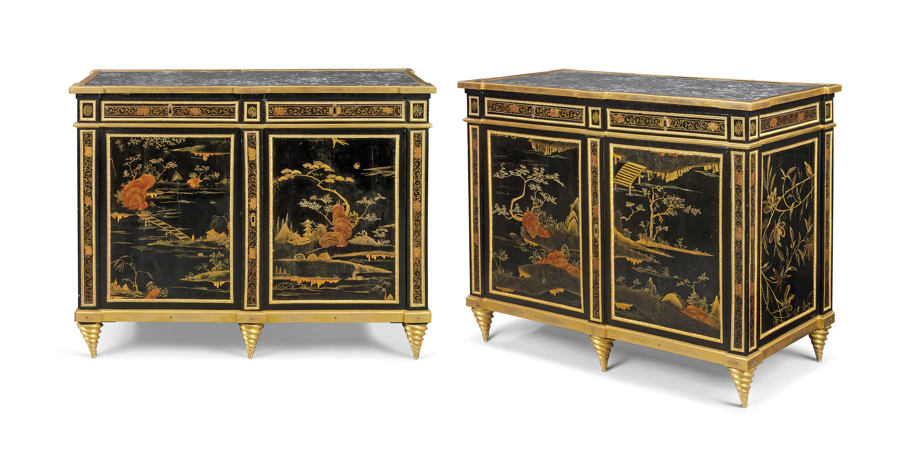 A PAIR OF LOUIS XVI ORMOLU-MOUNTED CHINESE BLACK AND GILT LACQUER AND VERNIS MARTIN COMMODES