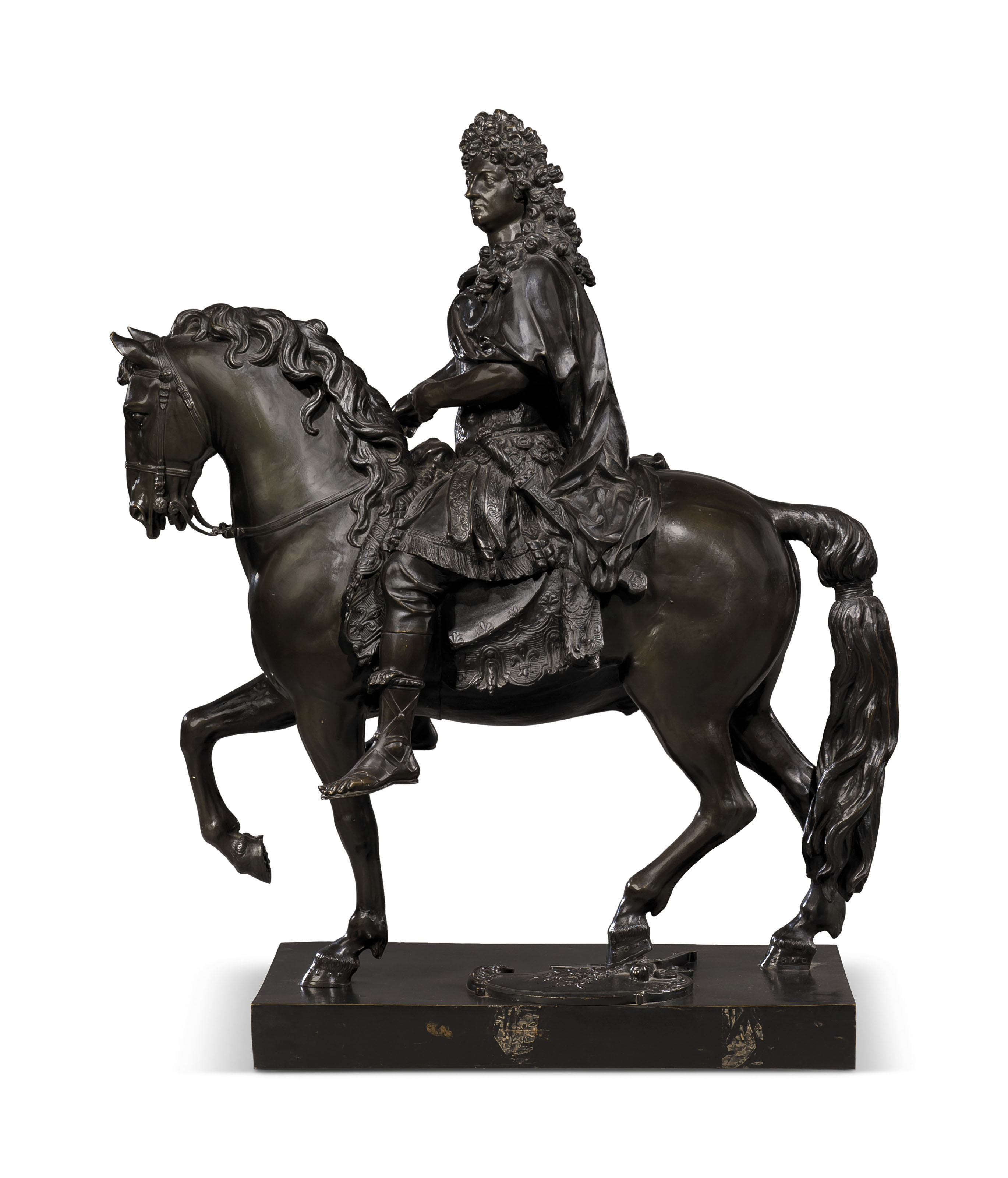 A FRENCH PATINATED-BRONZE EQUESTRIAN FIGURE OF LOUIS XIV