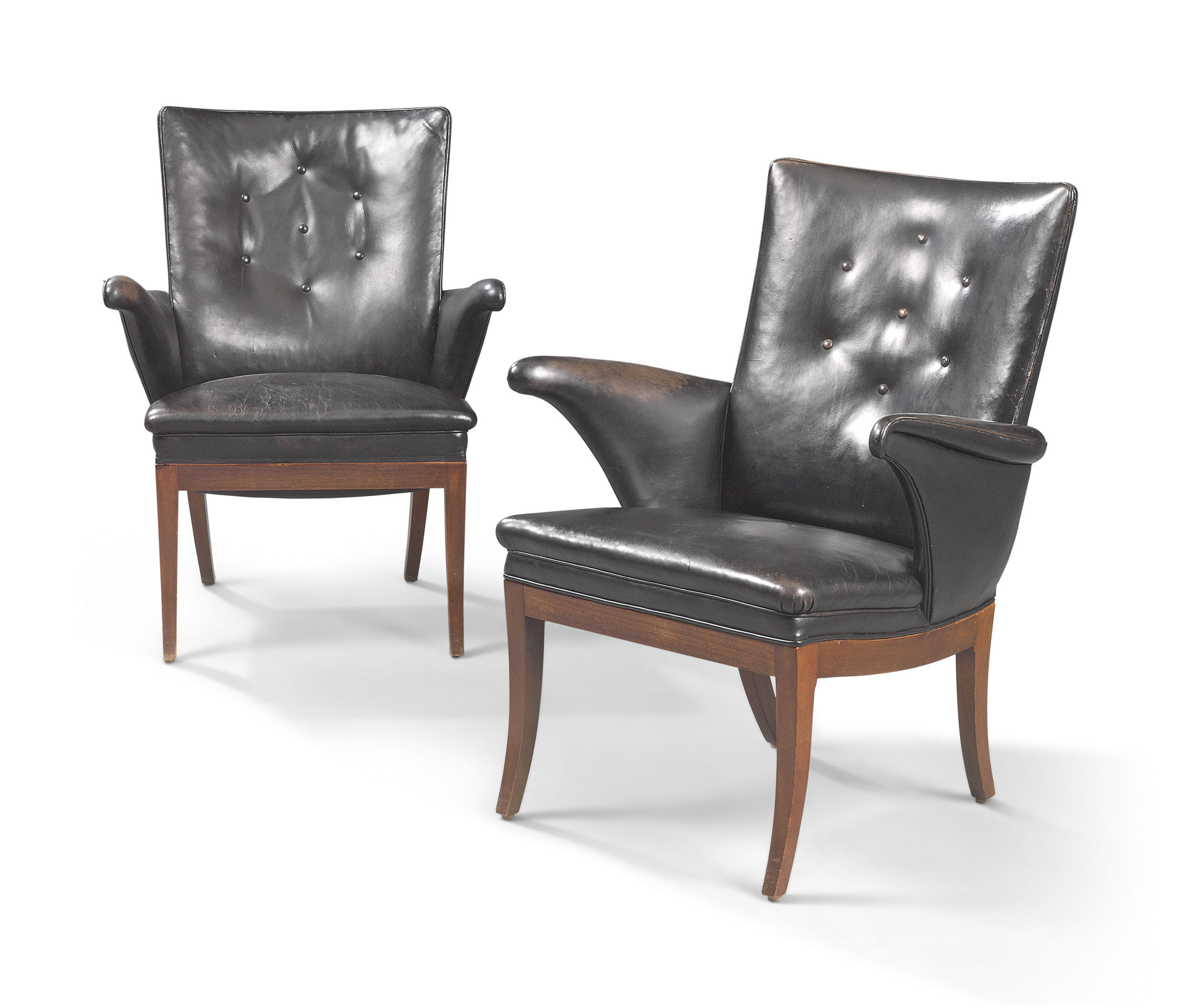 Fantastic A Pair Of Mahogany And Black Leather Easy Armchairs By Inzonedesignstudio Interior Chair Design Inzonedesignstudiocom