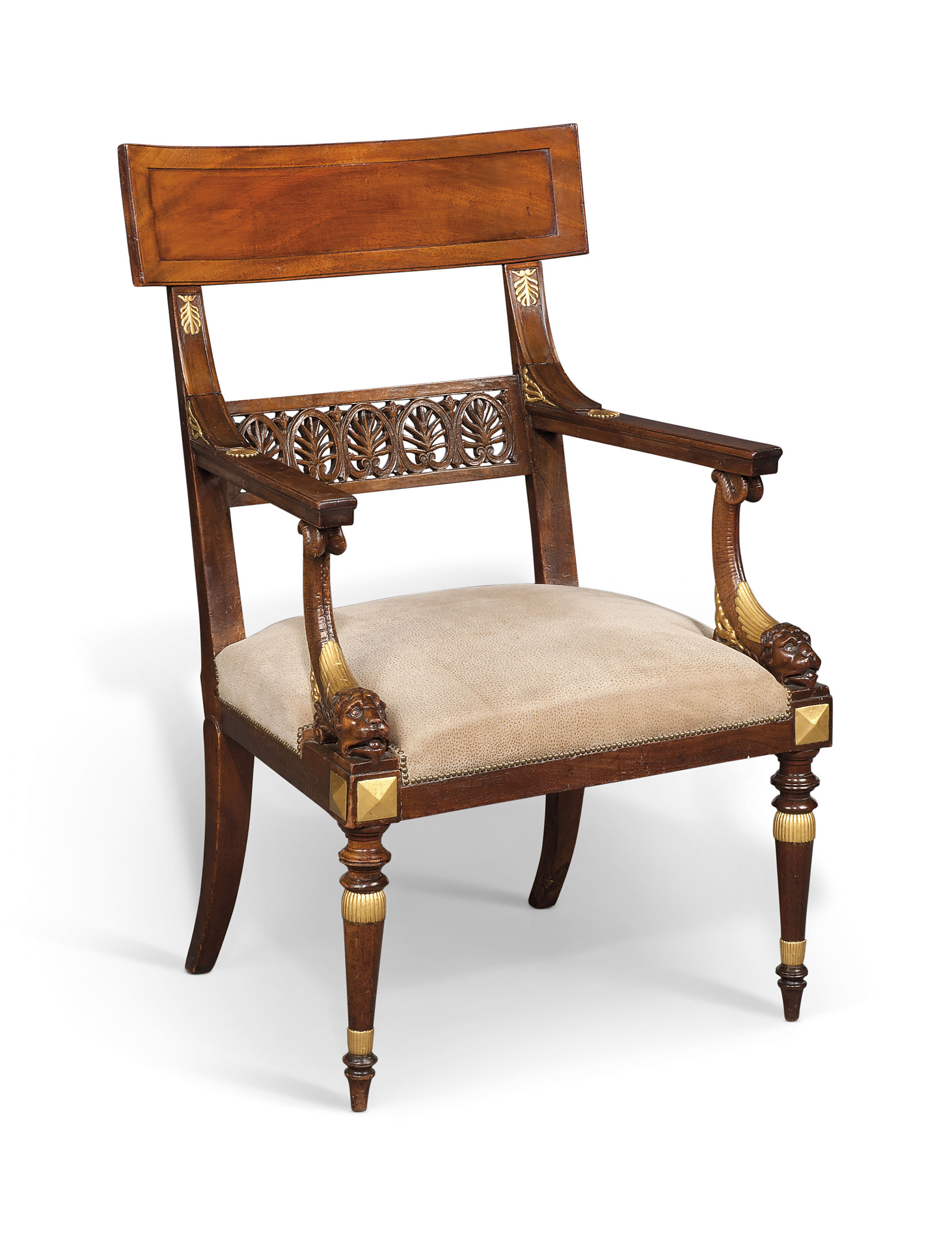 A DIRECTOIRE MAHOGANY AND PARCEL-GILT FAUTEUIL | BY GEORGES ...