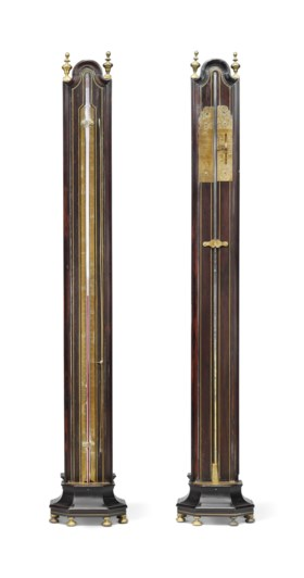 A LOUIS XIV BRASS-INLAID COPPER AND EBONY BAROMETER AND A THERMOMETER