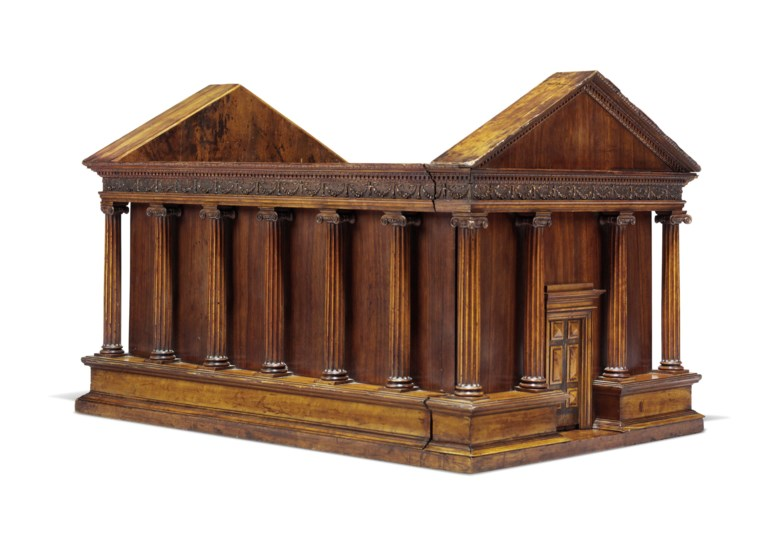 An Italian fruitwood architectural model of a temple, late 18thearly 19th century. 17  in (43  cm) high; 26¼  in (66.5  cm) wide; 18  in (46  cm) deep. Estimate £50,000-80,000. This lot is offered in The Eric Albada Jelgersma Collection Sale on 7 December 2018 at Christie's in London