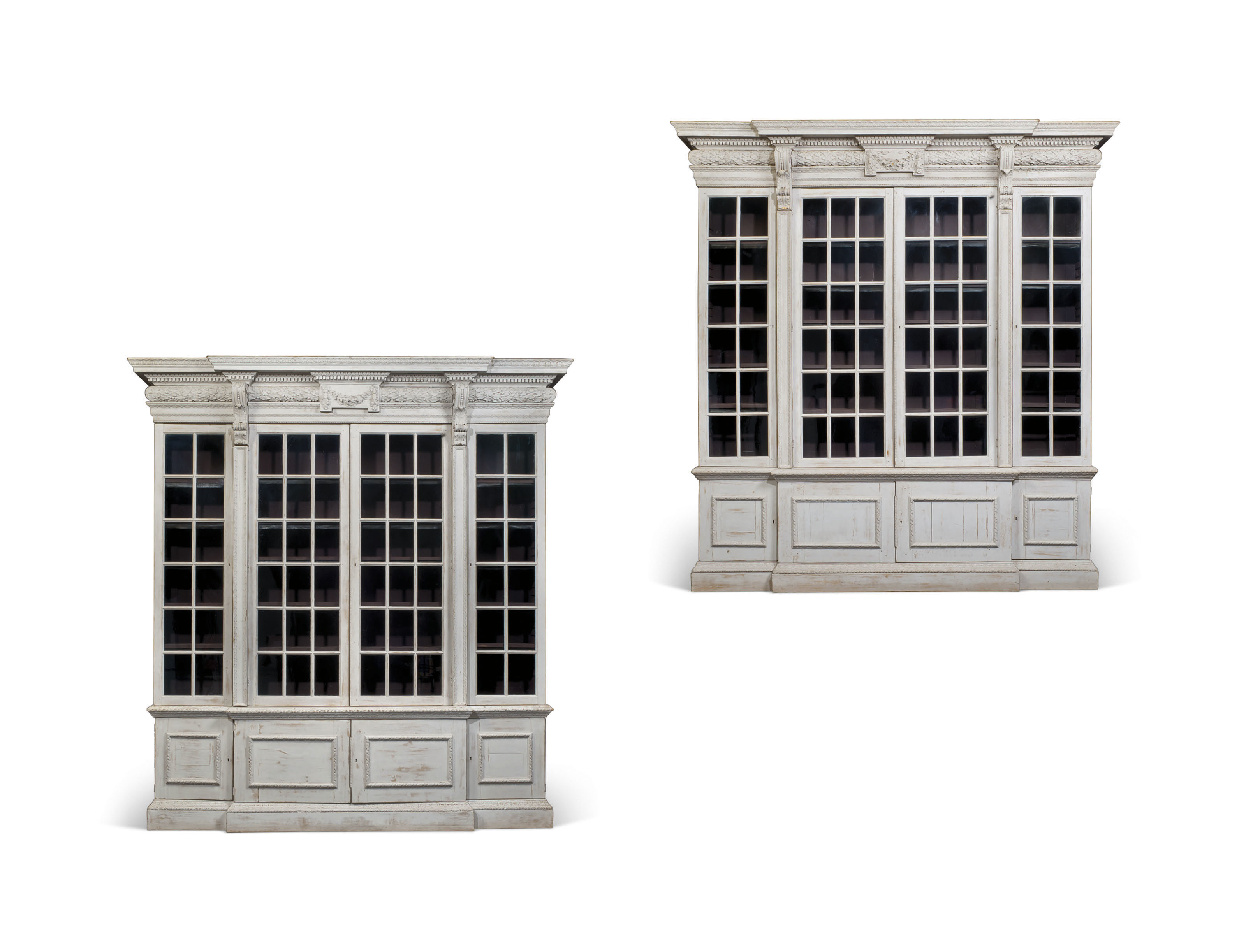 2018 CKS 0682 000 a pair of kentian white painted breakfront bookcases 20th century cons