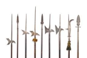 A GROUP OF NINE EUROPEAN HALBERDS AND OTHER POLEARMS