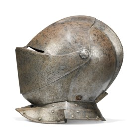 A EUROPEAN CLOSE HELMET FROM A CUIRASSIER ARMOUR